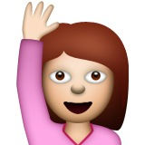 Image result for girl raising her hand emoji